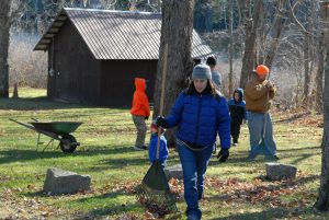 Volunteers Raking Leaves